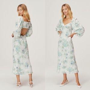 For Love & Lemons Goldie Blue Floral Maxi Dress